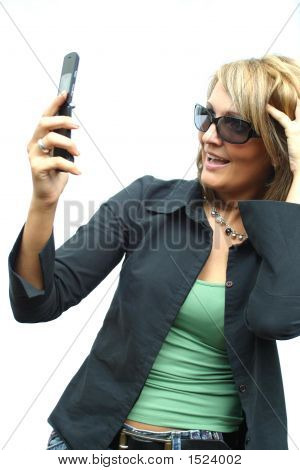 A Beautiful Party Woman With Phone