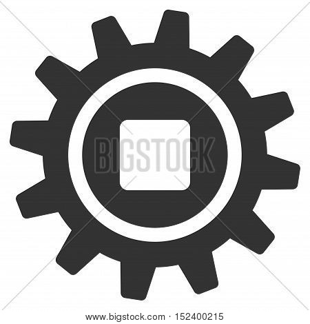 Cog vector icon. Style is flat graphic symbol, gray color, white background.