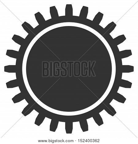 Cogwheel vector pictograph. Style is flat graphic symbol, gray color, white background.