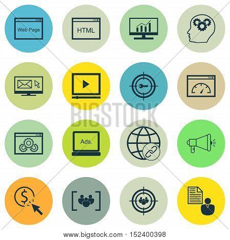 Set Of Seo Icons On Questionnaire, Digital Media And Keyword Marketing Topics. Editable Vector Illus