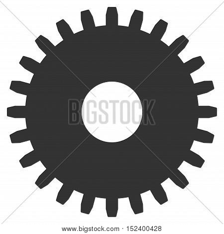 Cogwheel vector pictogram. Style is flat graphic symbol, gray color, white background.