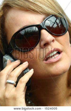 A Beautiful Woman With Phone - Sunglasses