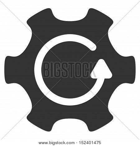 Rotate Gear vector pictograph. Style is flat graphic symbol, gray color, white background.