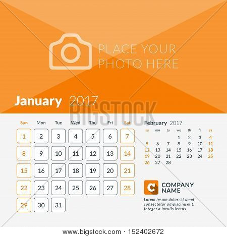 January 2017. Calendar For 2017 Year. Week Starts Sunday. 2 Months On Page. Vector Design Print Temp