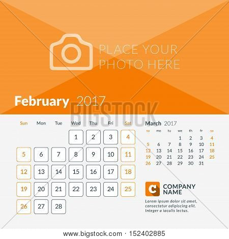 February 2017. Calendar For 2017 Year. Week Starts Sunday. 2 Months On Page. Vector Design Print Tem