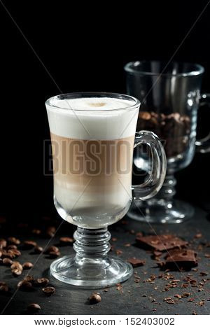 Latte Macchiato Coffee with Fried Beans