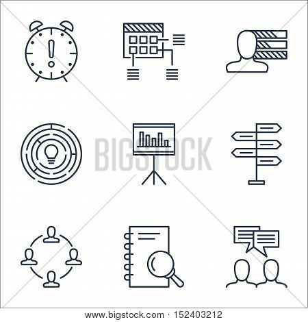 Set Of Project Management Icons On Collaboration, Schedule And Personal Skills Topics. Editable Vect