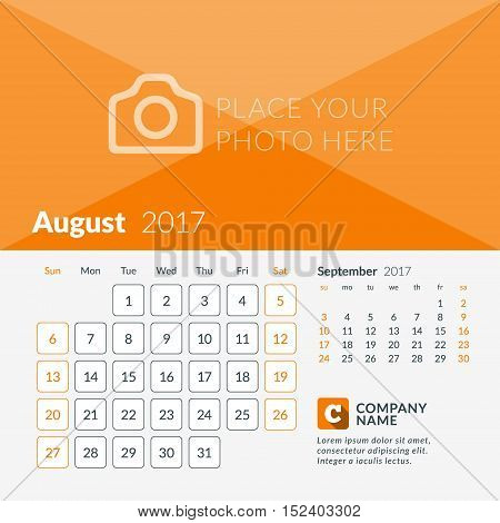 August 2017. Calendar For 2017 Year. Week Starts Sunday. 2 Months On Page. Vector Design Print Templ