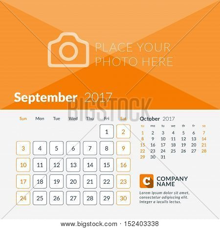 September 2017. Calendar For 2017 Year. Week Starts Sunday. 2 Months On Page. Vector Design Print Te