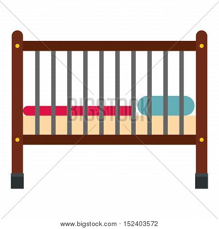 Baby bed icon. Flat illustration of baby bed vector icon for web design