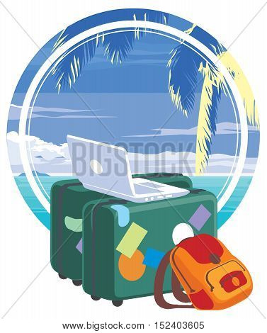 Vacation travelling concept. Flat design illustration. bags