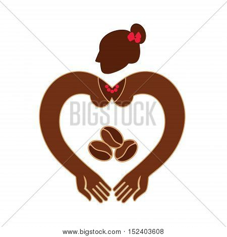 ark skinned woman with coffee beans in hand. Vector illustration