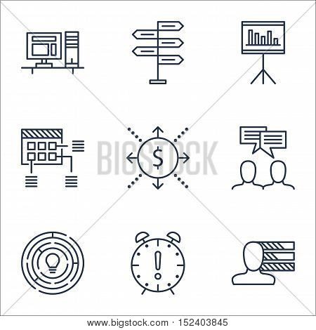 Set Of Project Management Icons On Schedule, Innovation And Time Management Topics. Editable Vector