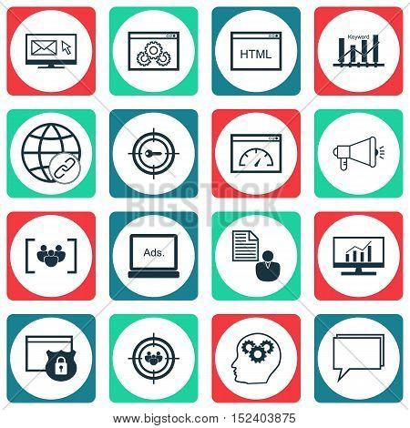 Set Of Marketing Icons On Keyword Marketing, Focus Group And Newsletter Topics. Editable Vector Illu