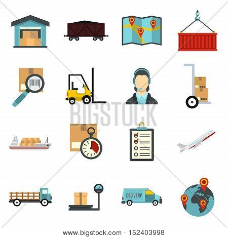 Logistic icons set. Flat illustration of 16 logistic vector icons for web