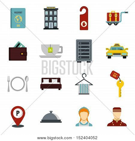 Hotel icons set. Flat illustration of 16 hotel vector icons for web