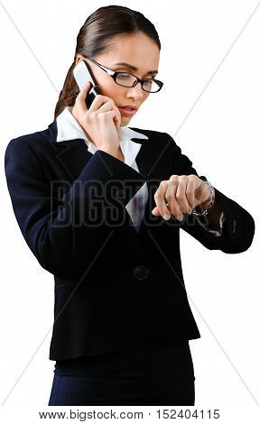 Businesswoman Talking on Mobile Phone and Checking Time - Isolated