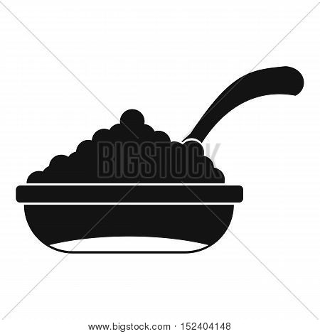 Bowl of caviar with spoon icon. Simple illustration of bowl of caviar vector icon for web