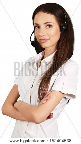 Woman with Arms Folded Talking on Headset - Isolated