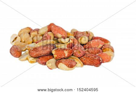 Macro of salted and roasted peanuts isolated