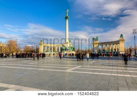 BUDAPEST, HUNGARY - DECEMBER 31: Heroes' Square (Hosok tere) is one of Budapest's most important landmarks and attracts thousands of tourists every day on December 31, 2011 in Budapest, Hungary.