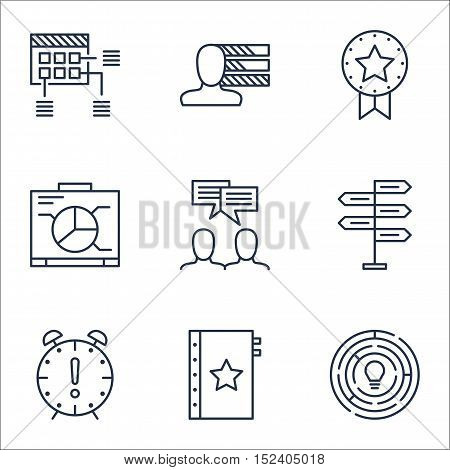 Set Of Project Management Icons On Board, Discussion And Innovation Topics. Editable Vector Illustra