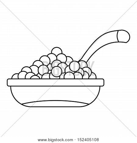 Bowl red caviar icon. Outline illustration of bowl of caviar vector icon for web