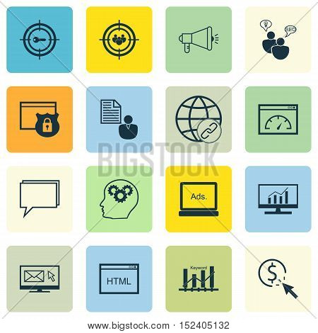 Set Of Advertising Icons On Coding, Security And Loading Speed Topics. Editable Vector Illustration.