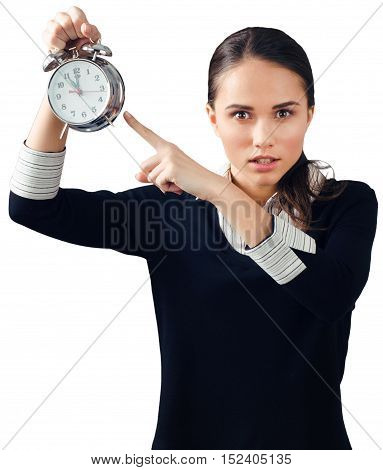 Woman Pointing with Finger at Alarm Clock - Isolated