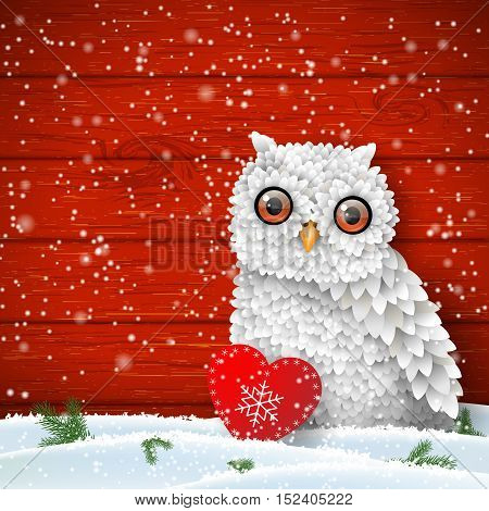 Cute white owl sitting in snow in front of red wooden wall with small red heart, winter holiday theme, vector illustration, eps 10 with transparency