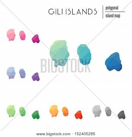 Set Of Vector Polygonal Gili Islands Maps Filled With Bright Gradient Of Low Poly Art. Multicolored