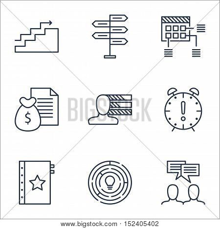 Set Of Project Management Icons On Time Management, Personal Skills And Growth Topics. Editable Vect