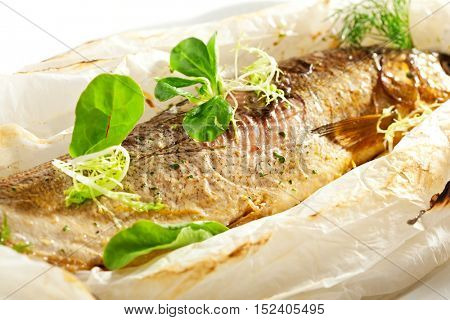 Parchment Baked Fish with Herbs