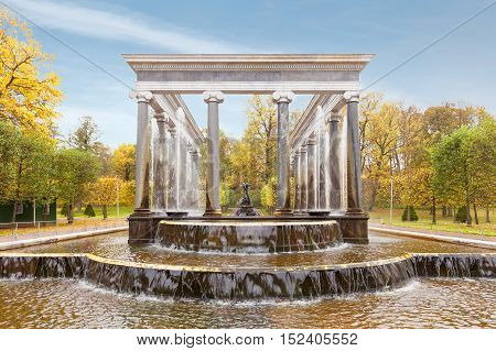 PETERHOF, SAINT PETERSBURG, RUSSIA - OCTOBER 09, 2016: Lion cascade at Peterhof (suburb of St. Petersburg) in autumn. Fountains of Peterhof are one of Russia's most famous tourist attractions