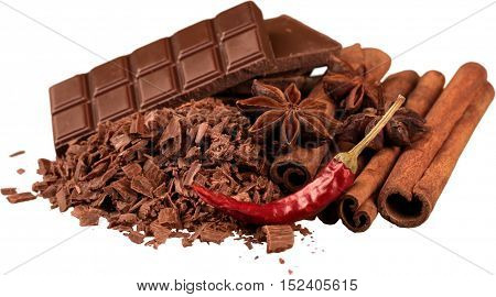 Chocolate Products with Cinnamon, Anise and Chilli Pepper - Isolated