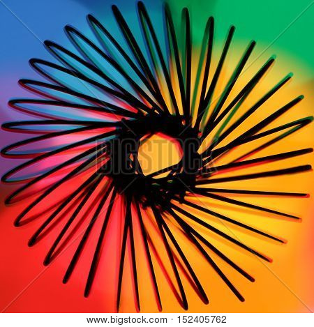 Circle springs abstract with rainbow colorful backlight