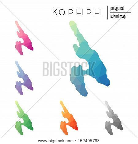 Set Of Vector Polygonal Ko Phi Phi Maps Filled With Bright Gradient Of Low Poly Art. Multicolored Is