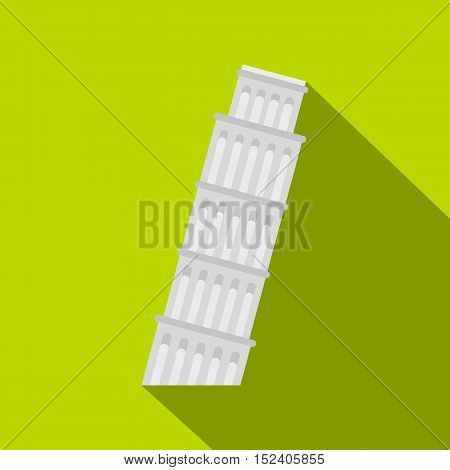 Pisa Tower icon. Flat illustration of Pisa Tower vector icon for web isolated on green background