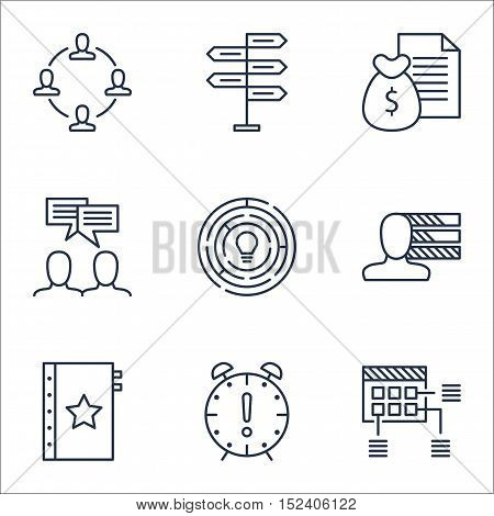 Set Of Project Management Icons On Schedule, Personal Skills And Time Management Topics. Editable Ve