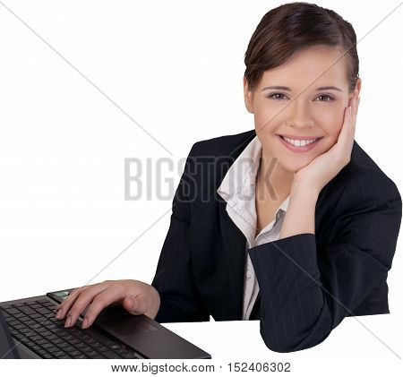 Businesswoman Sitting at a Laptop and Resting on Hand - Isolated