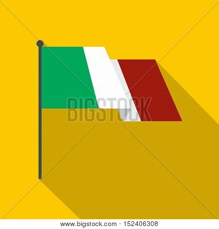 Italy flag icon. Flat illustration of italy flag vector icon for web isolated on yellow background