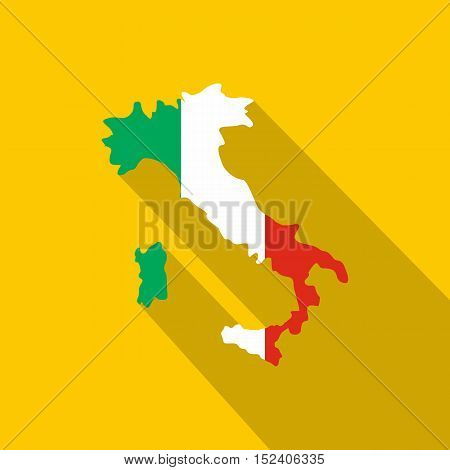 Map of Italy in national flag colors icon. Flat illustration of of Italy map vector icon for web isolated on yellow background
