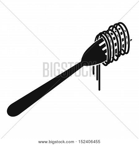 Spaghetti on a fork icon. Simple illustration of spaghetti on a fork vector icon for web