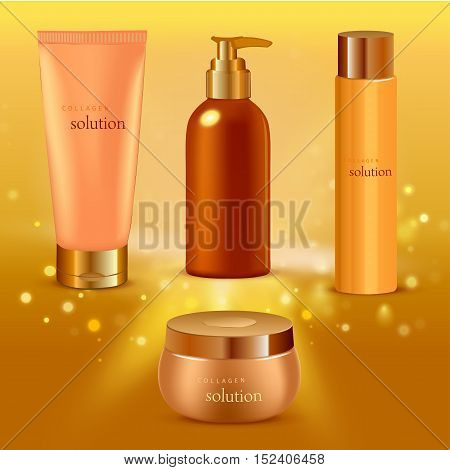 Vector illustration of Realistic collagen serum tubes icon set different size tubes on gold gradient background