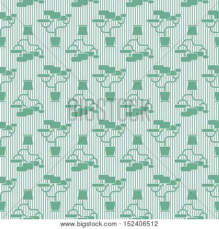 Green geometric houseplant seamless pattern, striped vector background