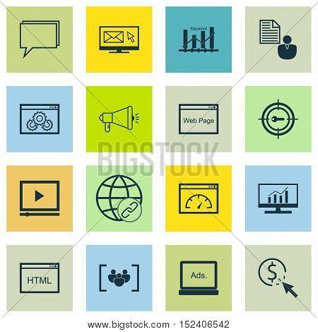 Set Of Seo Icons On Media Campaign, Connectivity And Report Topics. Editable Vector Illustration. In