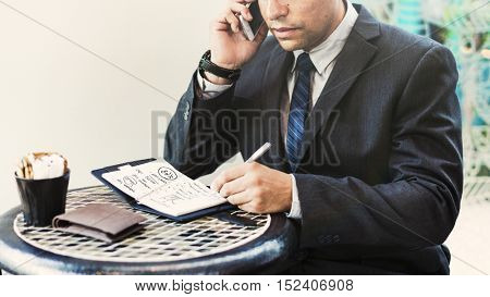 Business Man Calling Mobile Phone Concept