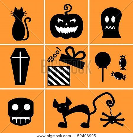 Set of black icons for Halloween on orange background. Icons: zombie cat pumpkin Ghost candy spider coffin gift.