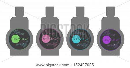 Label shower gel. A set of labels on the bottles. Vector design