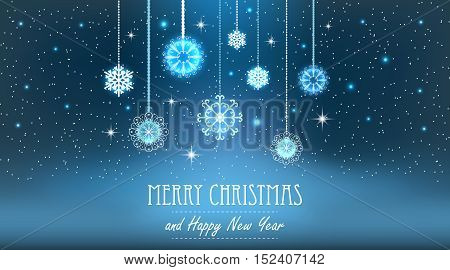 Vector illustration abstract Christmas Background. Snowflakes, night sky. EPS10